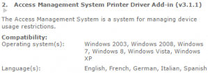 Access Management System Printer Driver Add