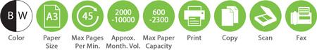 BW A3 45ppm 2000 10000amv 600 2300pc Print Copy Scan Fax