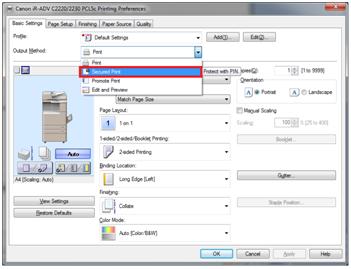 Output Method Secured Print