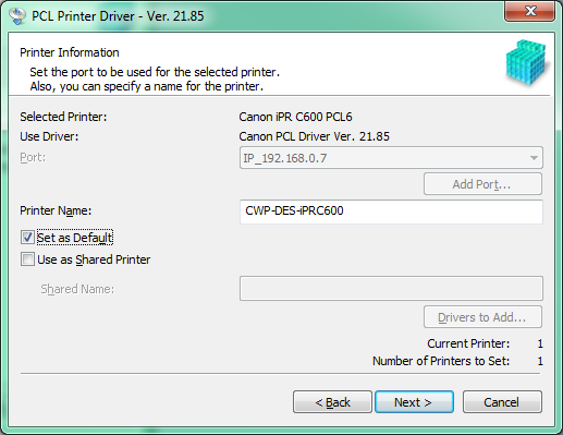 PCL Driver Install Part 3 Set Default
