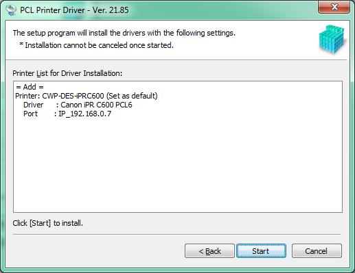 PCL Driver Install Part 4 - Click Start