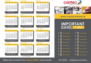 Cantec 2017 Calendar Monthly Specials