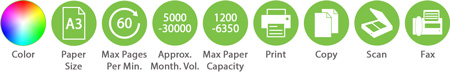 Color A3 60ppm 5000 30000amv 1200 6350pc Print Copy Scan Fax