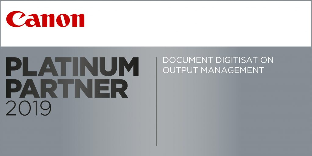 Certificate for Canon's Platinum Partner for Managed Print Solutions and document digitization