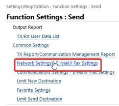 Canon E-mail Network Settings Menu