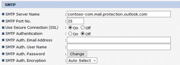 Ricoh SMTP Settings